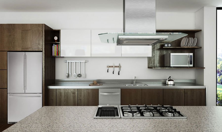 Beispiel: Amerikanischer Kühlschrank in Küche.